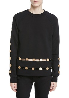 Balmain Long-Sleeve Crewneck Sweatshirt w/ Inset Coin Detail