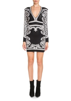 Balmain Long-Sleeve Deep-V Fitted Baroque Short Dress