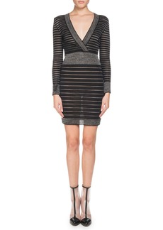 Balmain Long-Sleeve Deep V-Neck Striped Knit Cocktail Dress