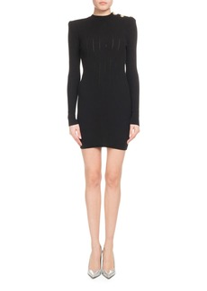 Balmain Long-Sleeve High-Neck Ribbed Dress with Shoulder Button