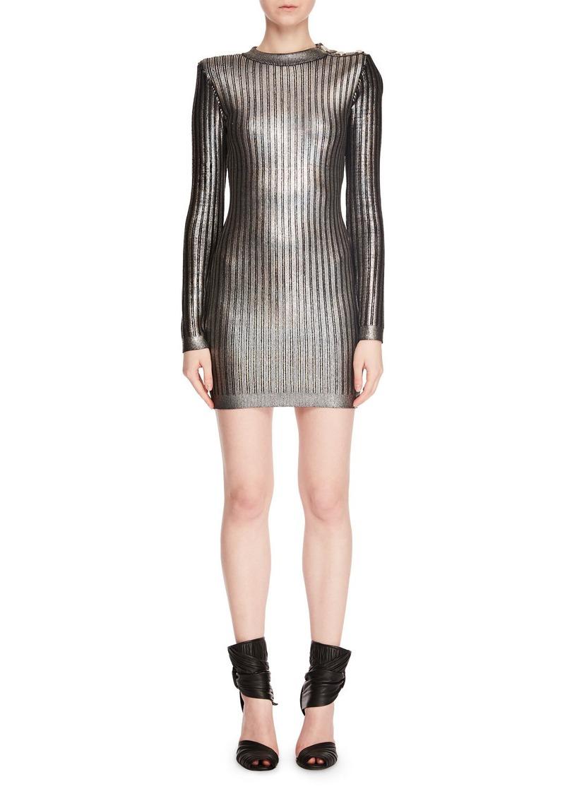 Balmain Long-Sleeve Mock-Neck Lacquered Vertical-Stripe Mini Cocktail Dress