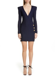 Balmain Long Sleeve Ribbed Faux Wrap Dress