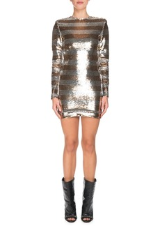 Balmain Long-Sleeve Sequin Striped Mini Dress