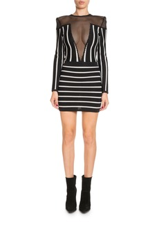 Balmain Long-Sleeve Striped Short Cocktail Dress with Mesh Inset