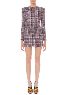 Balmain Long-Sleeve Tweed Mini Dress