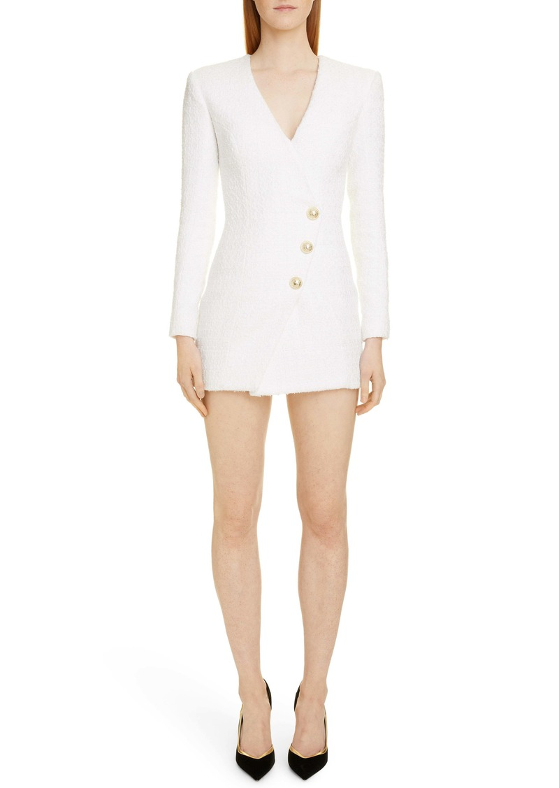 Balmain Long Sleeve Tweed Minidress