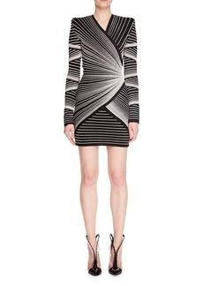 Balmain Long-Sleeve V-Neck Embroidered Optical Effect Mini Cocktail Dress