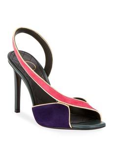 517be56a086 Balmain Macy Two-Tone Slingback Sandals