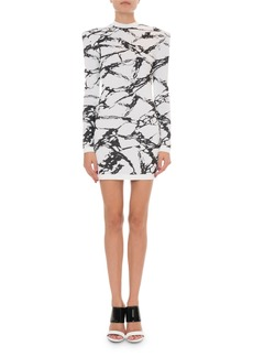 Balmain Marble Print Crewneck Long-Sleeve Dress