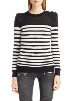 Balmain Marine Stripe Knit Sweater