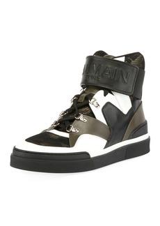 Balmain Men's Camouflage-Tone High-Top Sneakers