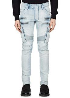 Balmain Men's Cargo Skinny Biker Jeans