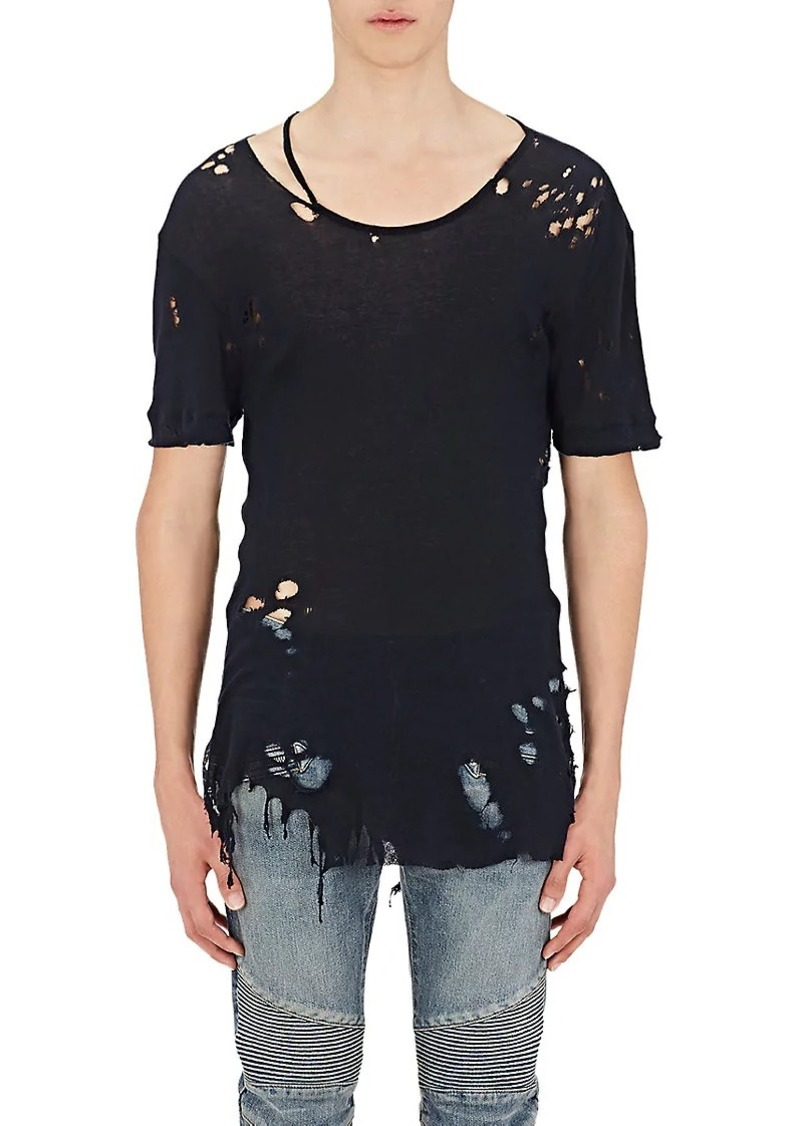 Balmain Men's Destroyed Cotton T-Shirt