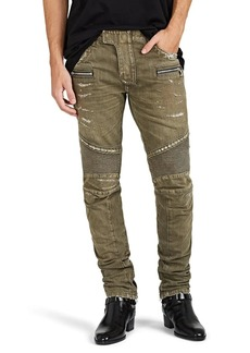 Balmain Men's Distressed Skinny Biker Jeans