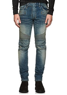 Balmain Men's Distressed Slim Biker Jeans