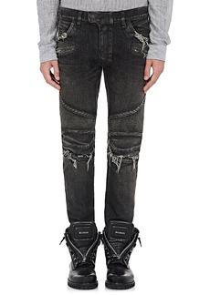 Balmain Men's Distressed Slim Biker Jeans