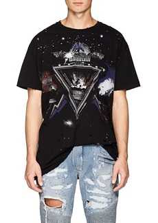 Balmain Men's Galaxy-Print Distressed Cotton T-Shirt