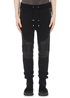 Balmain Men's Leather-Inset Cotton Jogger Pants