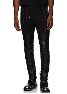 Balmain Men's Leather-Inset Cotton Sweatpants