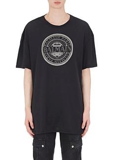 Balmain Men's Logo-Print Cotton Oversized T-Shirt