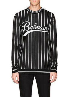 Balmain Men's Logo Striped Crewneck Sweater