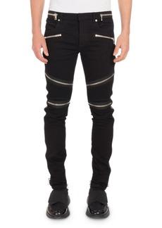 Balmain Men's Nervures Skinny Jeans with Zip Embellishments