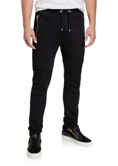 Balmain Men's Slim-Fit Paneled Sweatpants w/ Zip Pockets