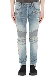 Balmain Men's Studded Distressed Skinny Moto Jeans