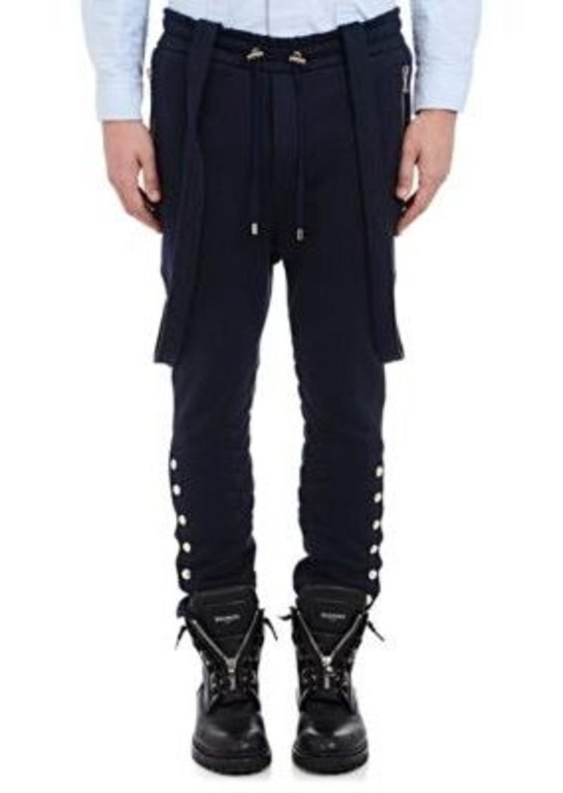 Balmain Men's Suspender Moto Jogger Pants-Navy Size XL