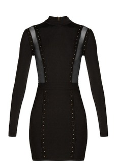 Balmain Mesh-insert studded body-con dress