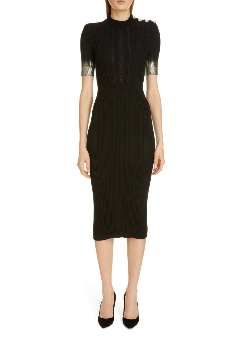 Balmain Metallic Dégradé Rib Wool, Silk & Cashmere Midi Sweater Dress