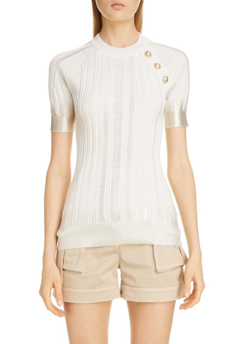 Balmain Metallic Dégradé Rib Wool, Silk & Cashmere Sweater