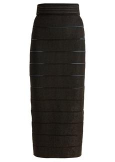 Balmain Metallic-embroidered stretch-knit pencil skirt