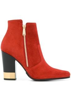 Balmain metallic heel boots - Red