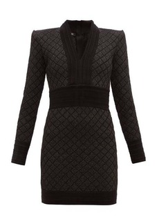 Balmain Metallic jacquard-knit mini dress