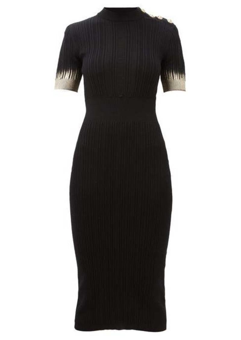 Balmain Metallic-sleeve knitted midi dress