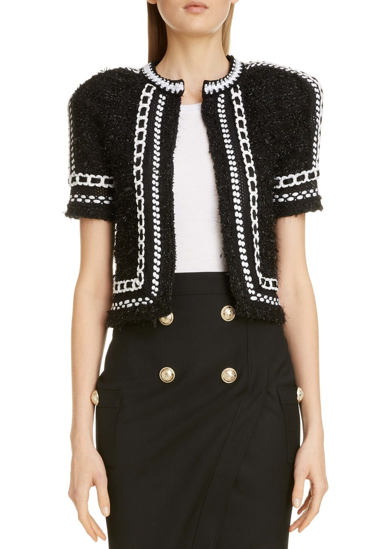Balmain Metallic Tweed & Mesh Knit Crop Jacket