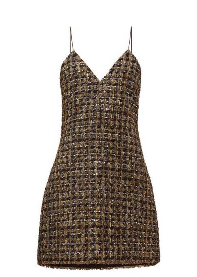 Balmain Metallic tweed mini dress