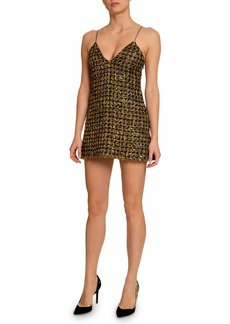 Balmain Metallic Tweed V-Neck Dress