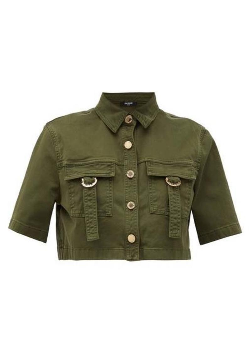 Balmain Military cropped cotton-blend shirt