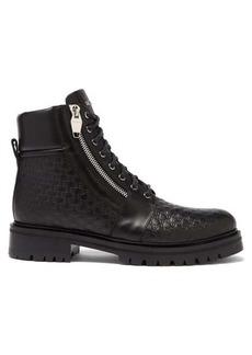 Balmain Monogram-debossed leather ranger boots