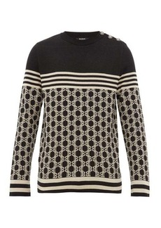 Balmain Monogram-jacquard buttoned cotton sweater