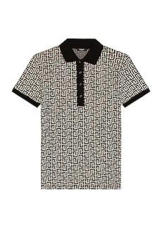 BALMAIN Monogram Jersey Polo Shirt
