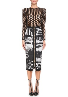 Balmain Newspaper-Print Mid-Calf Pencil Skirt