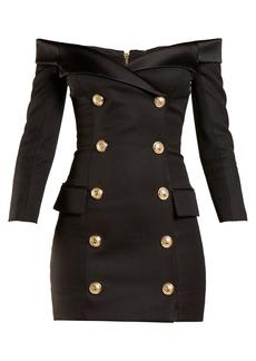 Balmain Off-the-shoulder button-embellished wool dress