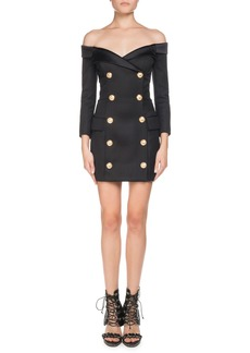 Balmain Off-the-Shoulder Double-Breasted Fitted Mini Cocktail Dress