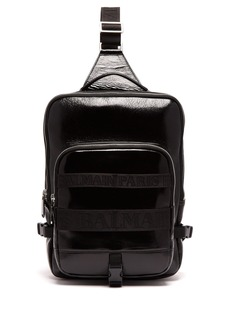 Balmain One-shoulder cross-body leather backpack