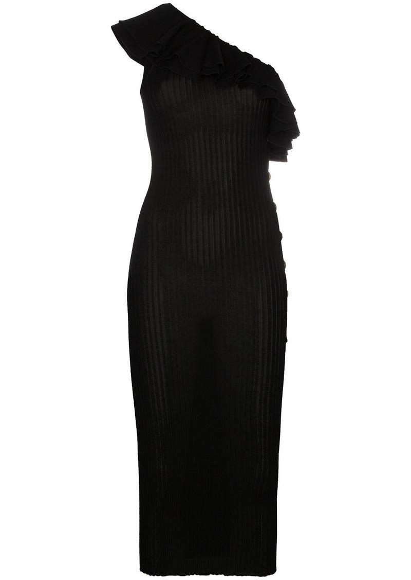 fede36d4 Balmain One shoulder dress with gold buttons | Dresses