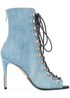 Balmain open toe lace-up boots - Blue
