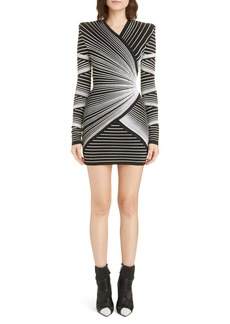 Balmain Optical Faux Wrap Minidress